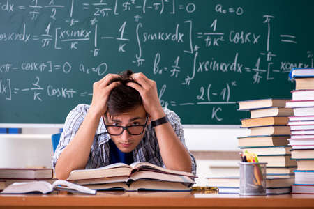 Young male student studying math at school Banco de Imagens - 114972562
