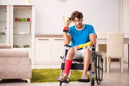Injured man recovering from his injury 스톡 콘텐츠