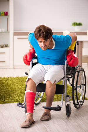 Injured man recovering from his injury 写真素材