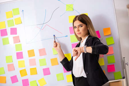 Young beautiful businesslady in conflicting priorities concept