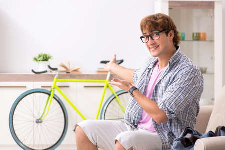 Student commuting to university using cycle Stock Photo
