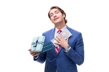 Elegant businessman with giftbox isolated on white