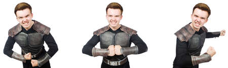 Young funny man in armour suit