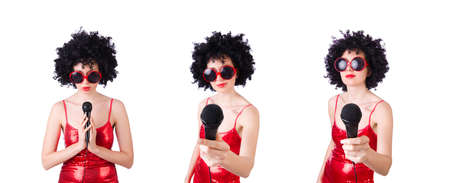 Pop star with mic in red dress on white Stok Fotoğraf