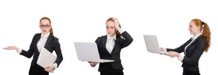 Businesswoman with laptop isolated on white Zdjęcie Seryjne