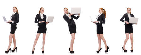 Businesswoman with laptop isolated on white 免版税图像