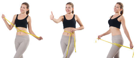 Young woman with meter doing exercises Stock Photo