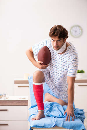 Injured man waiting treatment in the hospital Stock Photo