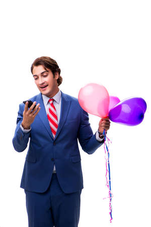 Elegant businessman with balloons isolated on white Stock Photo