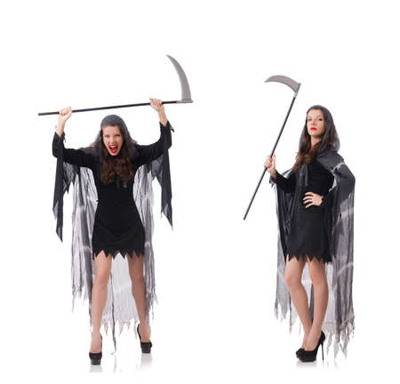 Woman with scythe isolated on white