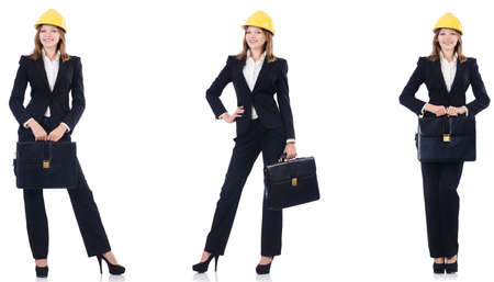 Female architect with bag isolated in white
