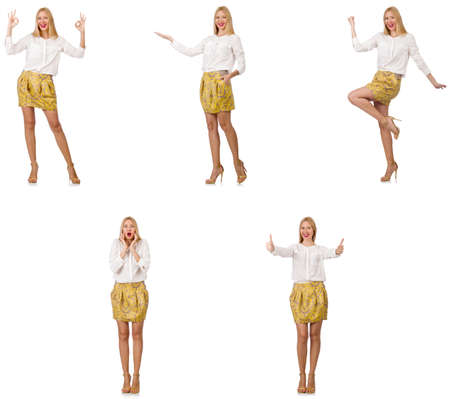 Collage of woman in fashion look isolated on white Banque d'images - 115447190