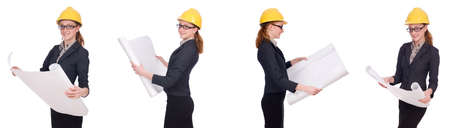 Female architect with blueprint isolated in white Banco de Imagens