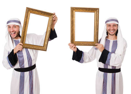 Arab man with picture frame isolated on white Stock Photo