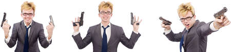 Young man with handgun isolated on white Banco de Imagens