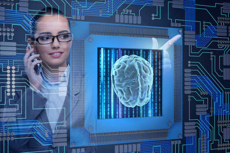 Cognitive computive concept with woman pressing buttons Stock Photo