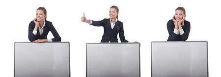 Woman businesswoman with blank board on white Фото со стока