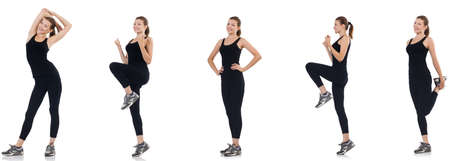 Young woman doing exercises isolated on white Stockfoto