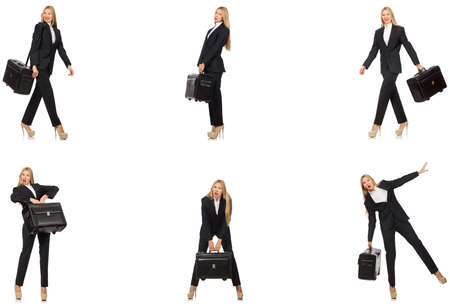Businesswoman with suitcase isolated on white