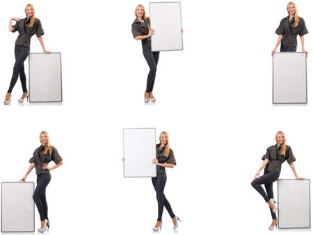 Young beautiful woman with whiteboard isolated on white Stock Photo