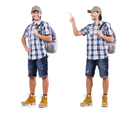 Young traveler with rucksack isolated on white Stockfoto