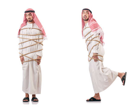 Arab businessman tied up with rope on white background