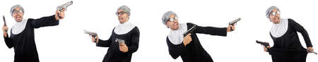 Man in nun dress with handgun Stock Photo