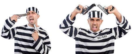 Prisoner with gun isolated on white Imagens