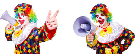 Funny male clown with megaphone Stockfoto