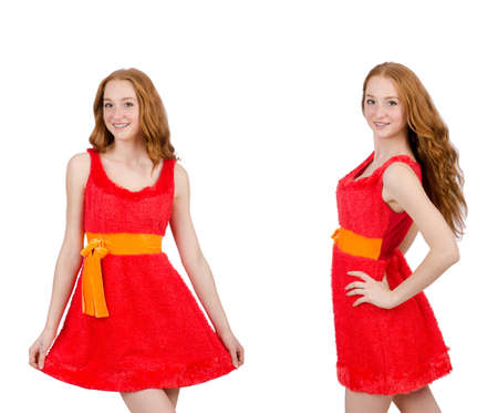 Pretty young girl in red dress isolated on white background Stock Photo