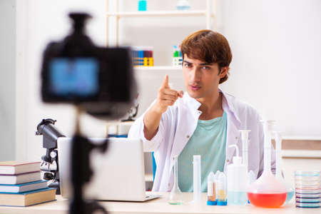Chemist blogger recording video for his blog