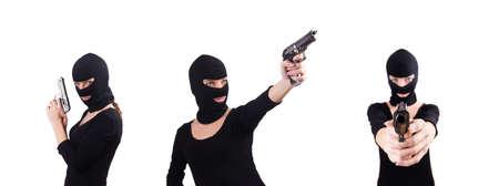 Burglar with handgun isolated on white Stock Photo