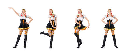 Woman in bavarian costume isolated on white 写真素材