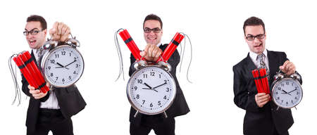 Man with time bomb isolated on white background Stock Photo