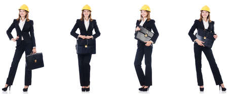 Female architect with bag isolated in white background Stock Photo
