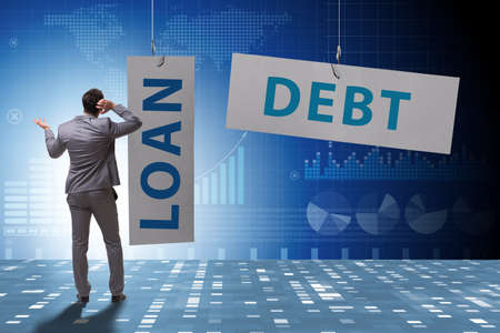 Businessman in debt and loan concept 스톡 콘텐츠