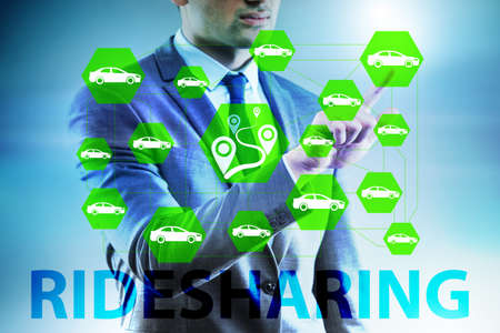 Businessman in carpooling and carsharing concept