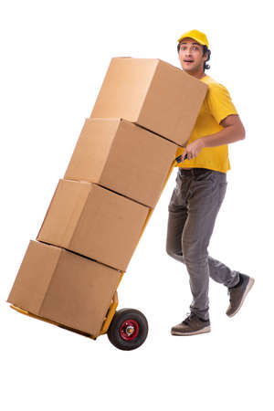 Young male courier with box Foto de archivo