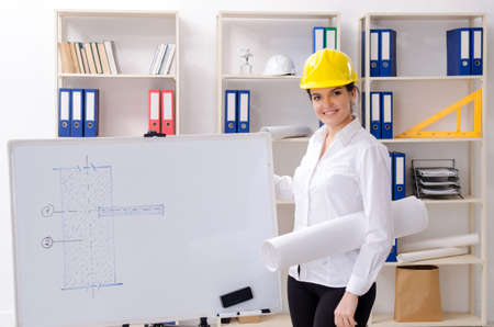 Female architect working in the office