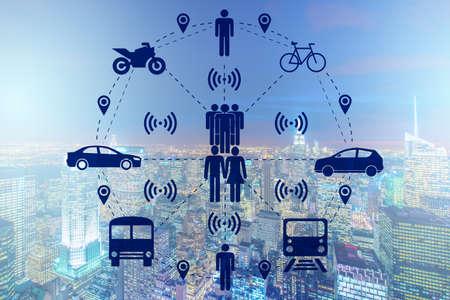 Concept de covoiturage et de covoiturage en ville