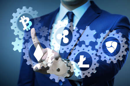 Concept of cryptocurrencies with man pressing buttons