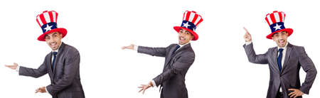 Man with american hat isolated on white Stock Photo
