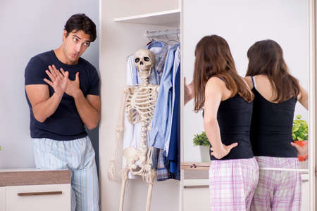 Concept of Skeleton in the cupboard or closet Stock Photo - 116322509