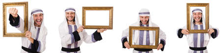 Arab man with picture frame isolated on white Standard-Bild
