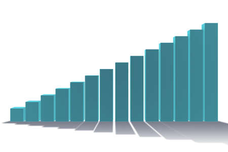 Bar chart showing growth - 3d rendering Imagens