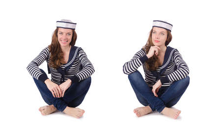 Young woman sailor isolated on white Banque d'images - 116762740