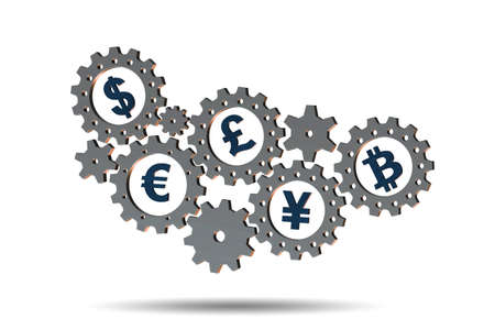 Concept of various currencies - 3d rendering Stock Photo - 116982687