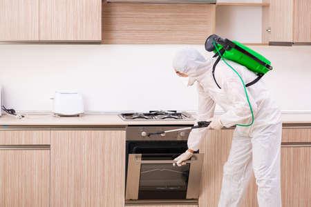 Profesjonalny wykonawca przeprowadzający kontrolę szkodników w kuchni