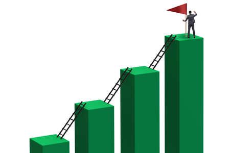 Empresario en concepto de crecimiento y progresión profesional