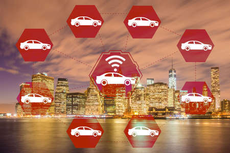 Ridesharing and carpooling concept in the city Stock Photo